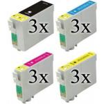 12 cartucce compatibili con Epson 27XL 3 nero 3 ciano 3 magenta 3 giallo