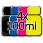 4 flaconi di inchiostro pigmentato (nero ciano magenta giallo) da 100ml cadauno