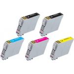 5 Cartucce COMPATIBILI serie T0551/2/3/4 (2 nero + 1x c/m/y)