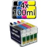Kit Ricarica 16XL. Inchiostro Universale 400ml per Stampanti Epson + 4 Cartucce VUOTE COMPATIBILI AUTORESET (T1631/2/3/4)