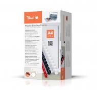 Confezione da 100 Dorsi Plastici Peach 14mm, capacità 125 fogli A4, bianco
