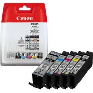 5 Cartucce Canon ORIGINALI (1x PGI-580 Nero + 1x CLI-581 nero photo, ciano, magenta, giallo).