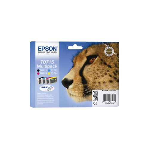 4 cartucce ORIGINALI Epson serie Ghepardo (1x T0711 T0712 T0713 T0714)