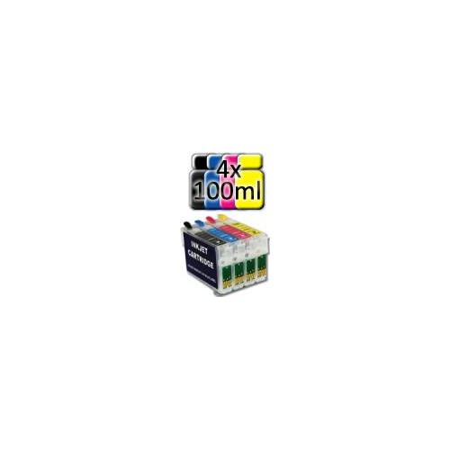 Kit di Ricarica: Inchiostro Universale 400ml per Stampanti Epson + 4 Cartucce VUOTE COMPATIBILI AUTORESET (T0711/712/713/714)
