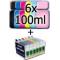 Kit di Ricarica: 6 Cartucce VUOTE AUTORESET Ricaricabili COMPATIBILI T0801/2/3/4/5/6 + 600ml inchiostro
